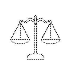 Scales balance sign black dashed icon on vector