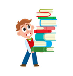 School boy holding huge stack pile of books vector