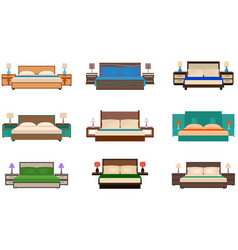 Set of bright colors nine bed collection with vector