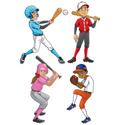 set of young baseball player vector image vector image