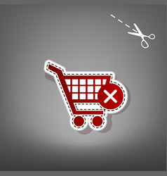 Shopping cart with delete sign red icon vector
