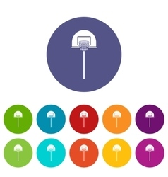 Street basketball hoop set icons vector image