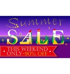Summer sale this weekend only night beach vector