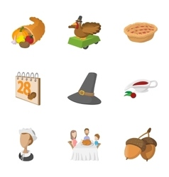 Thanksgiving day icons set cartoon style vector