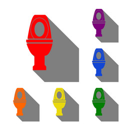 Toilet sign set of red orange vector