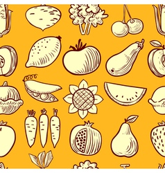 vegetables and fruits seamless pattern vector image vector image