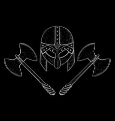 Viking helmet and two bladed axes hand drawn vector