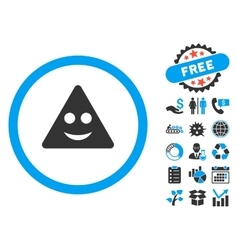 Triangle sign smile flat icon with bonus vector