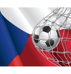 Soccer goal and czech flag vector