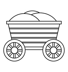 Vintage wooden cart icon outline style vector