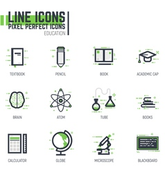 Education line set vector image
