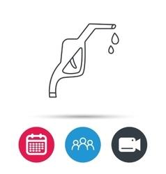 Gasoline pump nozzle icon petrol station sign vector