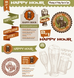 Beer happy hour design elements vector