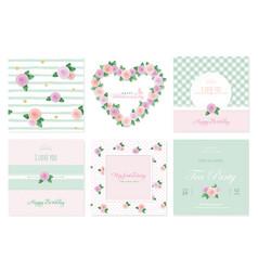 Floral card templates set birthday valentines vector