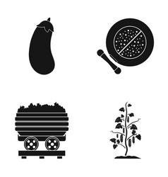 Eggplant cucumber and other web icon in black vector