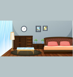 Bedroom with wooden furniture vector