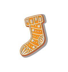 Gingerbread christmas stocking cookie vector