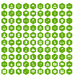 100 crime investigation icons hexagon green vector