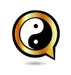 Alphabet q with ying and yang symbol vector