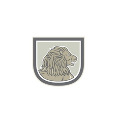 Lion big cat head side shield vector