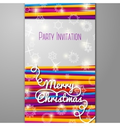 Merry christmas party invitation - bright laces on vector