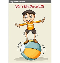 A boy on the ball vector
