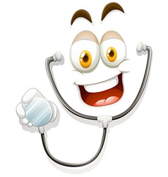 Happy face with stethoscope vector