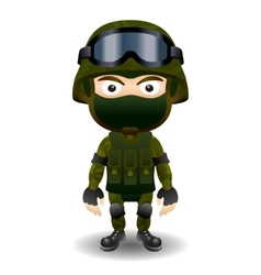 Soldier military character combat black mask vector