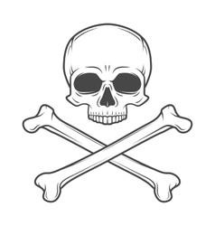 Human evil skull  Pirate insignia concept vector image