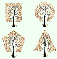 Trees of different geometric shapes set vector