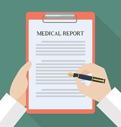 Doctor hand writing on medical report vector