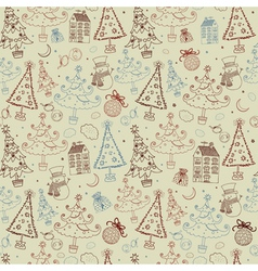 Vintage christmas doodle pattern vector