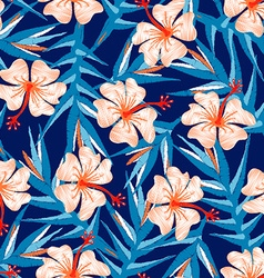 Tropical ginger embroidery floral design seamless vector image