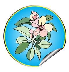 apple flower sticker blue vector image vector image