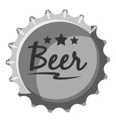 Beer bottle cap icon gray monochrome style vector
