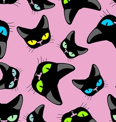 Black cat pink background seamless pattekrn vector image