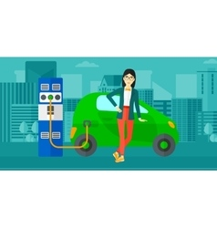 Charging of electric car vector