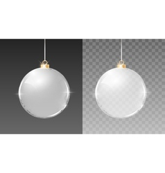 Christmas silver glass balls decoration vector image