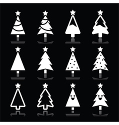 Christmas white tree icons set on black vector