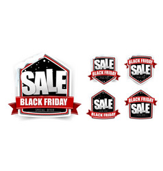 collection of vintage black friday sale tag label vector image