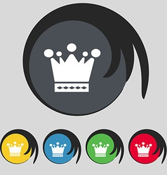 Crown icon sign symbol on five colored buttons vector