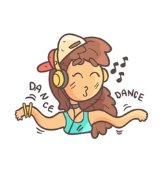 Dancing girl in cap choker and blue top hand vector