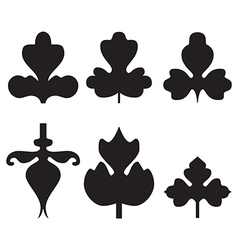 Decorative black leaves pattern set isolated vector