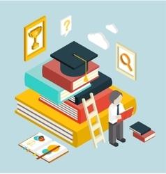 Flat 3d Web Isometric Education Graduation vector image