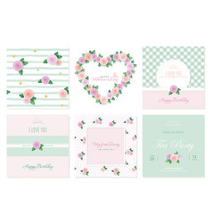 floral card templates set birthday valentines vector image vector image
