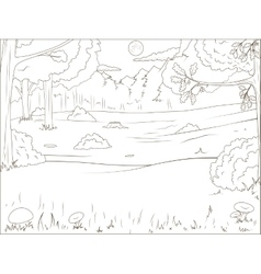 Forest cartoon coloring book educational game vector image vector image