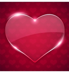 Glass Valentine Heart on Red Background vector image vector image