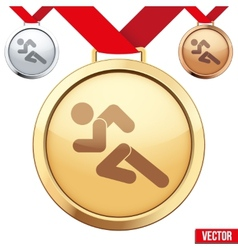 Gold Medal with the symbol of running people vector image vector image