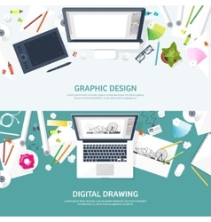 Graphic web design Drawing and painting vector image vector image