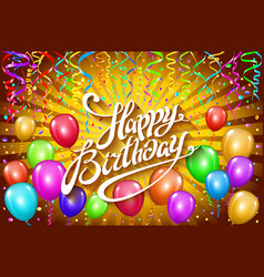 happy birthday typographic design for greeting vector image vector image